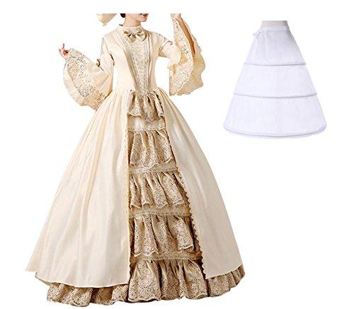 Nuoqi damen Damen Satin Gothic Viktorianisches Kleid Renaissance Maxi (Victorian Queen Kostüme)
