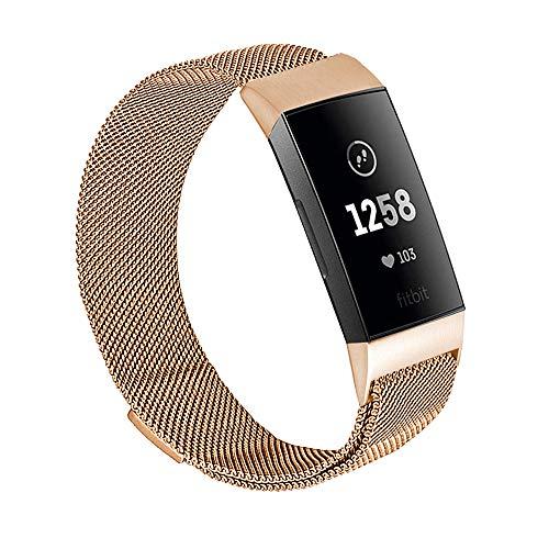 Sooair Für Fitbit Charge 3 Armband, Ersatz Fitness Armband und Sportarmband, Metal Wristband Armband für Fitbit Charge 3 Origina (Gold)