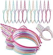 24 Pieces Plastic Unicorn Headbands Unicorn Horn Headband Fancy Dress Cosplay Decoration Supplies for Party (L