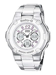 Reloj de caballero CASIO Baby-G BGA-112-7BER de cuarzo, correa de acero inoxidable color blanco (con cronómetro, alarma, luz) de Casio