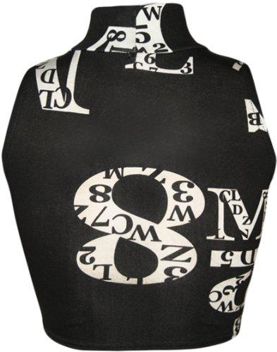 WearAll Damen Rollkragen Schwarz Weiß Kurz Ärmellos Monochrom Top 4 Farben  Größe 3642 Zahlen