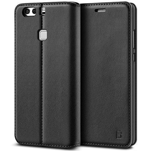 BEZ® Hülle für Huawei P9 Plus Hülle, Handyhülle Kompatibel für Huawei P9 Plus Tasche, Case Schutzhüllen aus Klappetui mit Kreditkartenhaltern, Ständer, Magnetverschluss - Schwarz