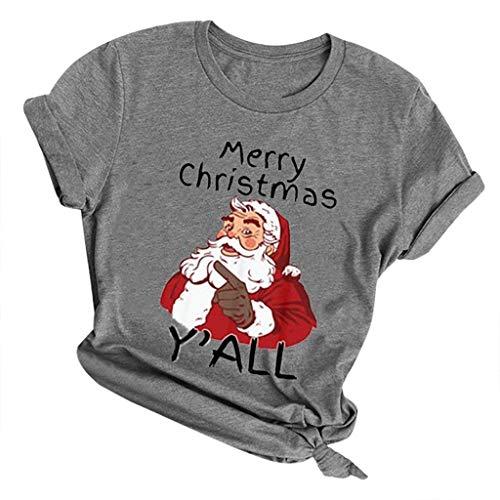 yazidan Damen Tops Frauen Mädchen Weihnachten Rundhal Kurzarmshirt Schneemann Merry Christmas Drucken Basic Fun Xmas T-Shirt Tee Shirt Blusen Oberteile