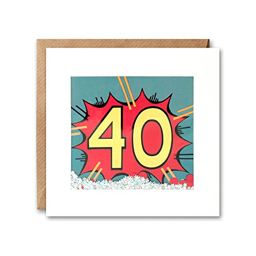 James Ellis Kapow Shakies Age 40 Birthday Card filled with confetti and biodegradable glitter
