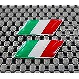 Italie Chrome Outline Petit Drapeau Ensemble en forme de dôme 3d Autocollant