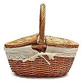 Picknickkorb Mit Griff, Bügelkorb, Geschirr Picknickkorb Weidenkorb Picknickkorb Wicker (S, Natürliche Farbe)