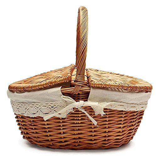 Handmade Korb Weidenkorb Korbweide Camping Picknickkorb Ablagekorb Shopping mit Deckel und Griff aus Holz Korb Wicker Farbe Wicker -