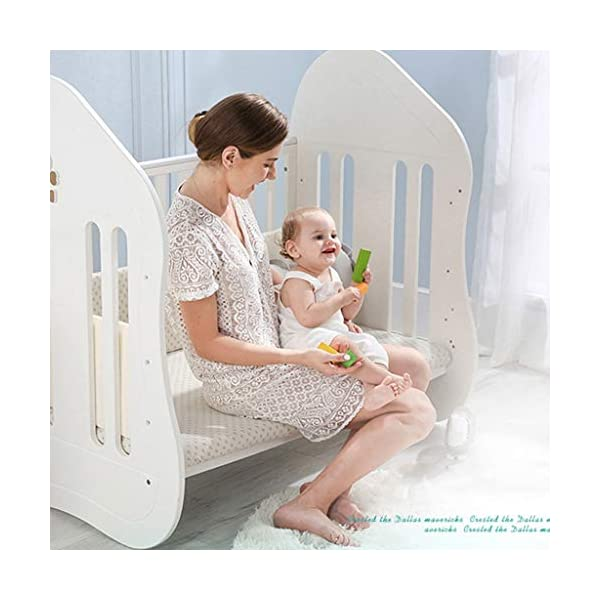 DUWEN-Cot bed Solid Wood Baby Cot European Multifunctional Toddler Bed Game Bed Children's Bed DUWEN-Cot bed 1. This perfect multi-functional crib is made of environmentally friendly pine wood. It is tough and durable, not easy to crack and deform. The load is up to 120KG. It is green and non-toxic paint. It is healthy and environmentally friendly. It is harmless to the baby. Mother can buy with confidence. 2. The three pedestal positions of the crib are suitable for the baby's growth stage, improving visibility and ventilation in all directions, selecting the gear according to the baby's body and age, making the space bigger and more comfortable to use. 3. Multi-functional crib can be easily converted into a game bed, children's sofa, desk, designed for healthy sleep of 0-6 years old baby (additional function can be used up to 6 years old), 55mm safety standard guardrail spacing, children's hands and feet will not be Stuck 10