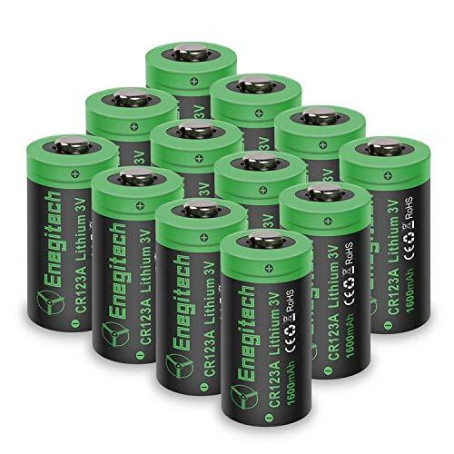 Enegitech CR123A Lithium Batterie 3V 1600mAh Fotobatterie für Taschenlampe, Polaroidkameras,...