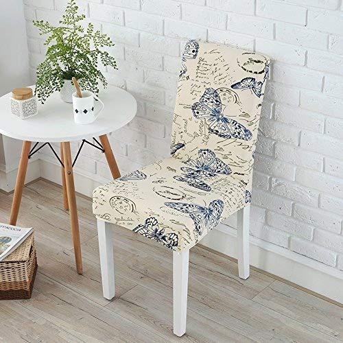 Butterfly-tisch-stuhl-set (YHEGV Set Stretch Stuhl Hotel Restaurant Siamesischer Tisch Stuhlbezug Home Europäischer Bezug Stoff Hocker Set, Schmetterlinge)
