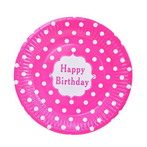 (Hacoly 6er rund Pappteller bunt Wellenpunkt einweggeschirr hochwertig Einwegteller Papierbesteck umweltfreundlich biologisch abbaubar kompostierbar happy birthday für kindergeburtstag -7 Zoll Rose Rot)