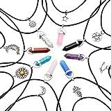 MJARTORIA Damen Halskette Freundschaftsketten Bunt CZ Kristall Hexagon Healing Point Chakra Anhänger Choker Mehrschicht Kette 16 Stück