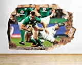 C668 Rugby Team Sport Game Cool Smashed Wall Decal 3D Art Stickers Vinyl RoomKids Bedroom Baby Nursery Cool Livingroom Hall Boys Girls