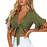 OSYARD Damen Mode Casual Tank Crop Tops Feste Weste Bluse Aufflackernhülse T-Shirt(EU 44/XL, Armeegrün)