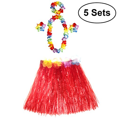TOYMYTOY 5 Sätze Tropical Hula Grass Rock Hawaiian Kostüm Kostüm Set Kinder Blume Leis Armbänder Stirnband Halskette Set ()