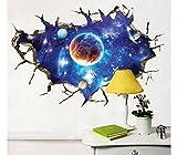 Pegatina mural efecto 3D pared rota con diseño de estrellas, espacio, planetas para sala de juegos de niños...