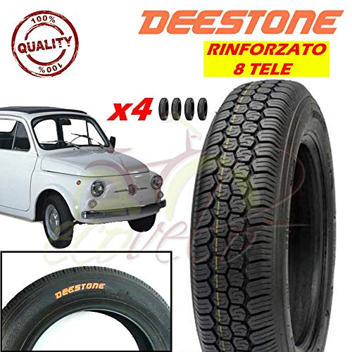 Deestone Kit 4 Pneumatici 125-12C RINFORZATI 8PR 81J TUBELESS TL per Ape Piaggio E Vecchia Fiat 500 Epoca Ruote GOMME COPERTONI
