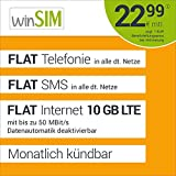 winSIM LTE All 10 GB Allnet Flat - monatlich kündbar (FLAT Internet 10 GB LTE mit max. 50 MBit/s mit deaktiverbarer Datenautomatik, FLAT Telefonie, FLAT SMS und EU-Ausland 22,99 Euro/Monat)