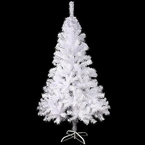Sunjas Arbre de Noël Artificiel Sapin Artificiel Vert / Blanc 120cm-210cm (200-700RAMAS) (Blanc 120cm)