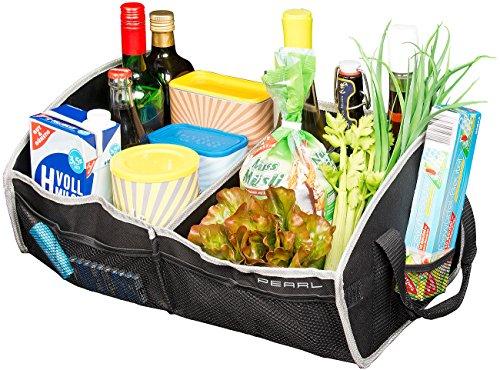 PEARL Kofferraum Organizer: Faltbare Kofferraumtasche, 2 Tragegriffe & Trennwand, 52 x 22 x 31 cm (Kfz Zubehör)
