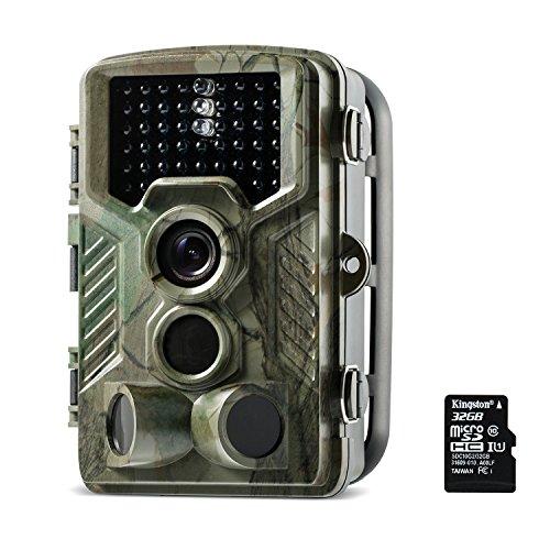 Wildkamera, Coolife 2.4 Zoll LCD Digitalkamera Wasserdichte IP56,12MP 1080P HD Jagd Kamera 46 PC IR LEDs für Nachtsicht Vision 120 Grad Weitwinkel Scouting Überwachungskamera für Wildtier mit 32G SD Karte.