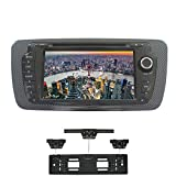XISEDO Android 7.1 Autoradio 2 Din Voiture Radio à Écran Tactile 7' Car Radio RAM 2G Système de Navigation GPS avec Lecteur de DVD pour Seat Ibiza Soutien Contrôle du Volant, Bluetooth, WiFi (avec Cadre de Plaque d'immatriculation avec Radar de Recul)