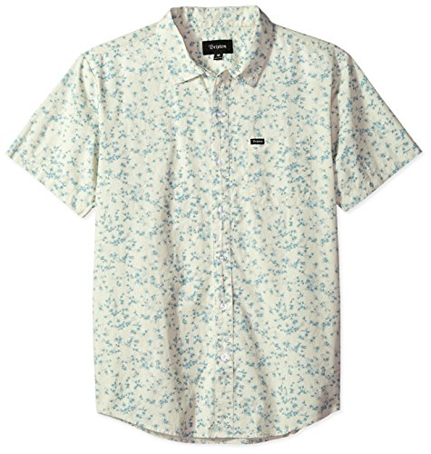 Button-down Woven Dress Shirt (Brixton Herren Charter Standard FIT Short Sleeve Woven Shirt Button Down Hemd, Off White/Dusty Blue, X-Klein)