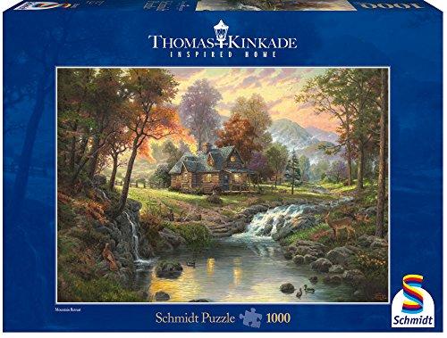 Preisvergleich Produktbild Schmidt Spiele - Thomas Kinkade, Holzhaus am Bach, 1000 Teile Puzzle