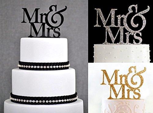 Schwarz, glitzernden Gold oder Silber Glitzer Dick MR & MRS Acryl Hochzeit Kuchen, Topper Forbes Gastgeschenken gold