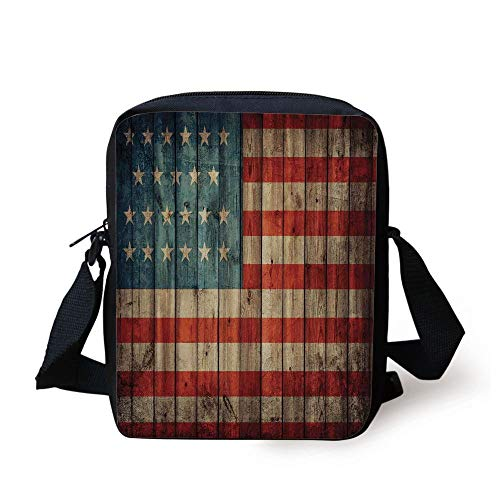 LULABE Rustic American USA Flag,Fourth of July Independence Day Painted Old Wooden Looking Background Patriotism Decorative, Print Kids Crossbody Messenger Bag Purse -