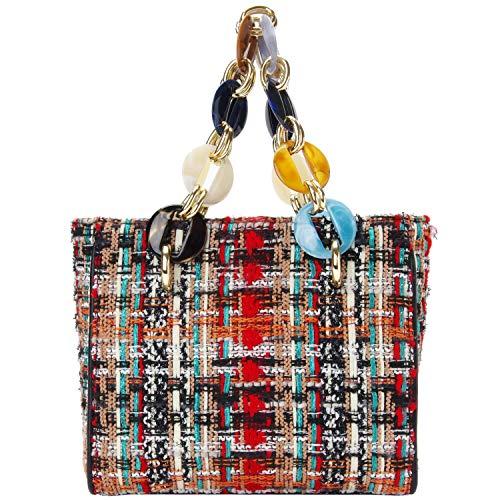 PACO TORA Wolle Handtasche Damen PU-Leder Umhängetasche Mode Tragetasche Tweed Stoff Umhängetaschen - Klassische Sammlung -
