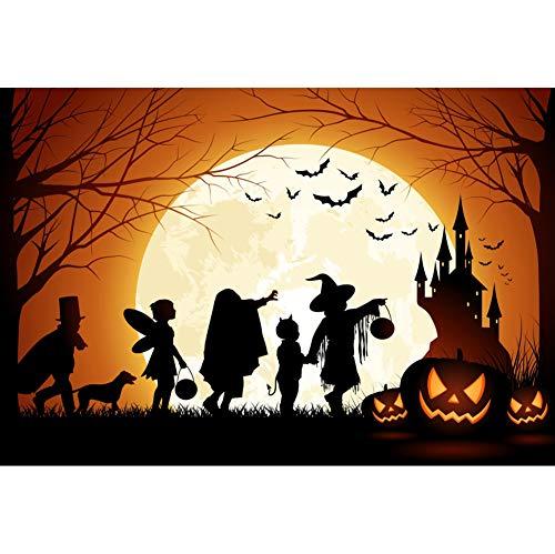 OERJU 1,5x1m Halloween Hintergrund Kinder Silhouette Kürbis Mond Schloss Fledermäuse Baum Hintergrund Halloween Nacht Party Fotografie Süßes und Saures Banner Dekoration Porträt Foto (Kürbis Halloween Silhouetten)
