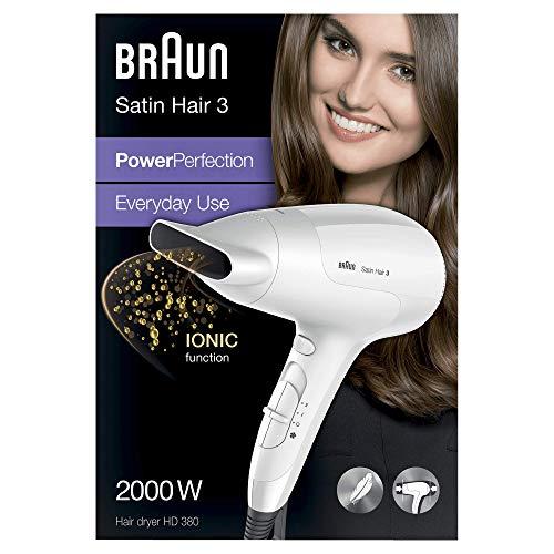 Braun Satin Hair 3 Power Perfection Haartrockner HD 380, mit IonTec, 2000 Watt -