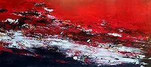 ABSTRAKTE LANDSCHAFT schwarz-rot 80x180cm
