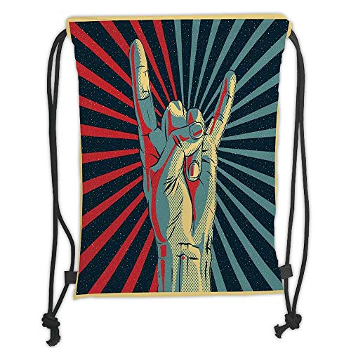 OQUYCZ Drawstring Sack Backpacks Bags,Music,Hand in Heavy Rocker Sign Musical Universal Gesturing Thunder Bolts Party People Decorative,Multicolor Soft Satin,5 Liter Capacity,Adjustable String -