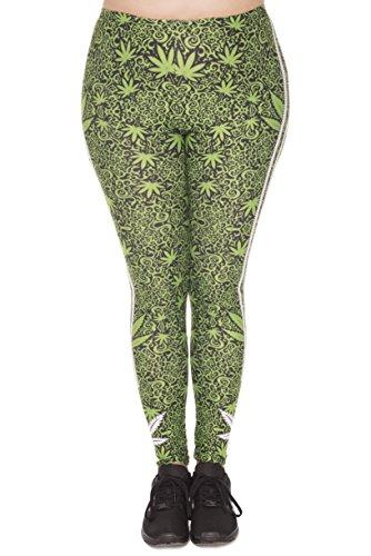 Plus Size Damen Leggings | Oversize L - XXL 44 46 48 Leggins in großer Größe mit verschiedenen Mustern | Sport-Hose Freizeit-Hose Yoga-Hose Übergröße (Marijuana Stripes) (Schwangerschafts-sportkleidung)