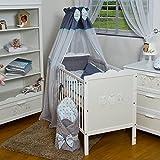 Velinda 9-tlg. Minky-Dots-Baby-Bettwäsche-Set Bettzeug Bettbezug für Babybett 120x60 (Muster: Sternchen Grau & Türkisfarbig)
