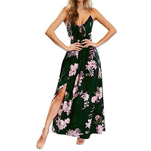 Bellelove,Femmes robe longue, Mesdames sans manches au-dessus du genou, Mini robe Floral Print Cross Strap taille haute Split robe occasionnels Sling V-cou longue robe (UE 34 / Asie S, Noir)