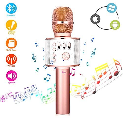 Micrófono bluetooth Karaoke, FITY Micrófono Inalámbrico Portátil, con Altavoces para Fiestas Conciertos...