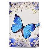 Felfy Kompatibel mit Hülle Samsung Galaxy Tab A 10.1 T580 T585 Case Tasche Flip Cover Ledertasche Blau Blumen Schmetterling mit Standfunktion Magnetverschluss Automatischer Schlaf,EINWEG Verpackung