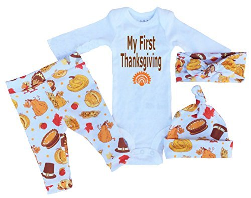 Baby My First Thanksgiving Bodysuit and Pants Outfit with Hat Headband