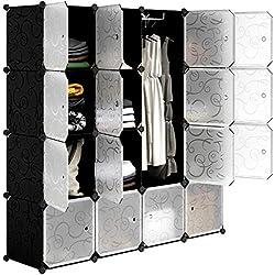 LANGRIA Garde-Robe Armoire Portable avec 16 Cubes DIY, Penderie avec Portes, Tige Suspendue, Construction Solide pour Vêtements, Chaussures, Accessoires, Conception de Motif de Frisé, Noir et Blanc