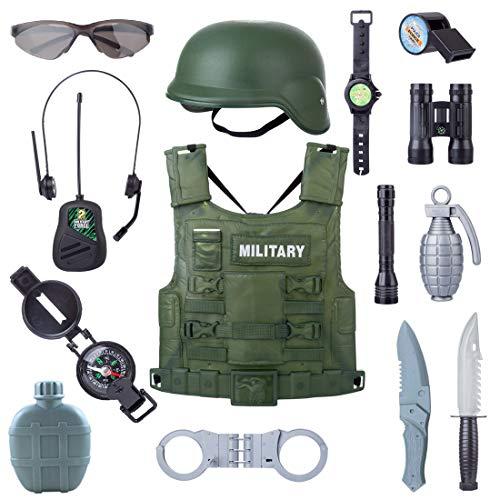 MAJOZ 14 Stück Polizei Kostüm Kinder, Polizei Rollenspiel,Kinder Militär Spielset für Rollenspiele, Mottoparty, Tarnung, Halloween, alltägliche Unterhaltung