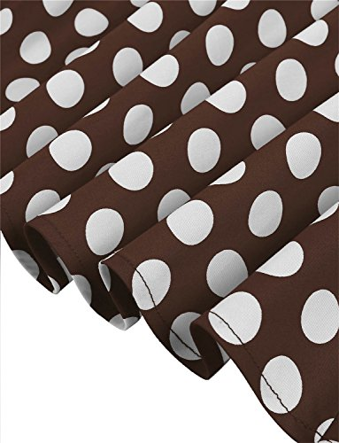 Dressystar Damen Vintage 50er Cap Sleeves Dot Einfarbig Rockabilly Swing Kleider Braun Weiß Dot B