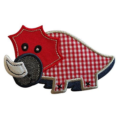 Roter Dino 9X6cm Aufbügler flicken Patch Kleider Aufnäher Bügelbild Stoff zum Bügeln auf Fahne...