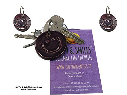 3 Schlüsselanhänger Smiley violett lila aus Ton handmade