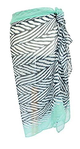 Zebra Stripe Aqua Sarong Beach Pool Cover Up Holiday Resort Wear Paero Free Size