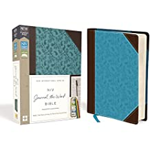 NIV, Journal the Word Bible, Imitation Leather, Brown/Blue, Red Letter Edition, Comfort Print: Reflect, Take Notes, or Create Art Next to Your Favorite Verses