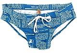 GALLIANO 'Newspaper Petrol A' Herren Badeslip Retro Unikat (Blau/Weiß)