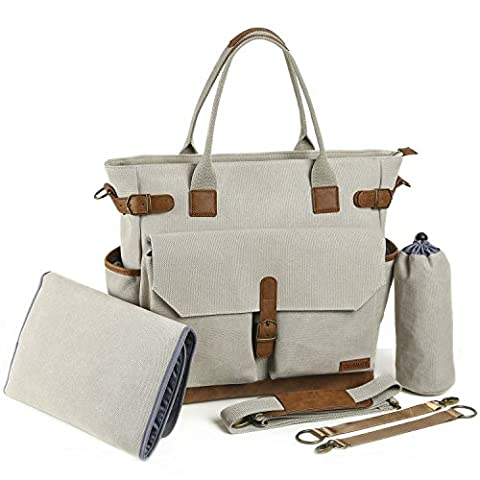 Baby Diaper Bag by Canvas Stylish Tote with Changing Pad
